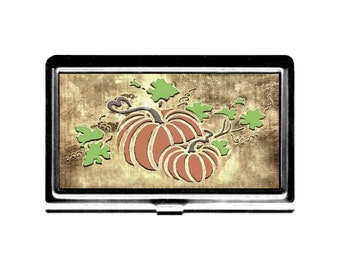Business Card Case Fall Pumpkins Credit Card Holder Vintage art Thanksgiving Halloween stainless steel metal card case Wife Gift