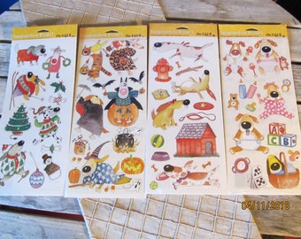"4 Packs Acid and Lignin Free Packs - Kevin Whitlark Dogs Sticker Packs ""On A Lark"" New Old Stock 2003 Scrapbook Stickers"