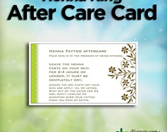 50-pack Henna Tattoo Aftercare Cards