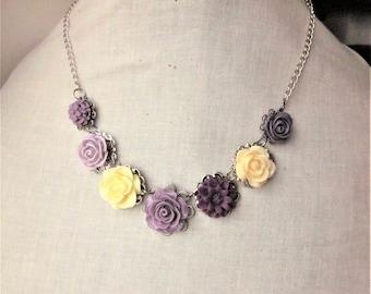 Handmade Flower Necklace Purple Flower Necklace Purple Rose Necklace Lavender Resin Rose Purple Wedding Purple Bridesmaids Lavender Flower