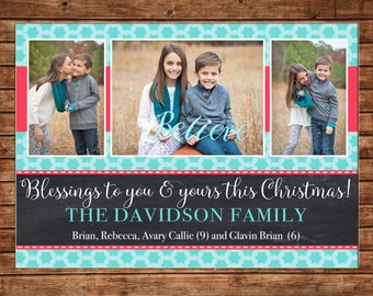 Christmas Holiday Photo Card Turquoise Coral Chalkboard - Can Personalize - Printable File or Printed Cards