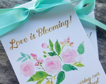 Beautiful Watercolor Pink Roses Design Wedding Favors w/ Wildflowers Seed Packets Personalized Bridal Shower Favors ~  Reception Favors