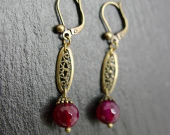 Earrings art deco Juliet, earrings, semi precious stones, bronze
