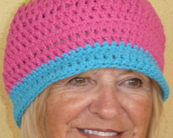 Women's chemo hat, bright colors in handcrafted crochet, original winter crochet hat, unique all cotton hat, free shipping USA