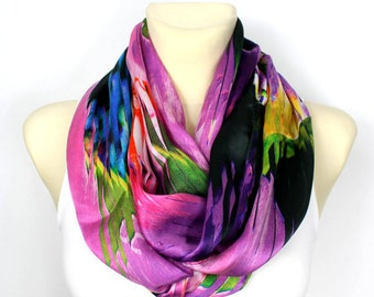 Silk Infinity Scarf Silk Chiffon Scarf Silk Loop Scarf spring infinity scarf for Women Lightweight Scarf Purple Gift for Mother Outdoor