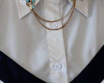 Vintage 12k Gold Filled Double Chain Collar Brooch - Gold Filled Collar Chain Brooch