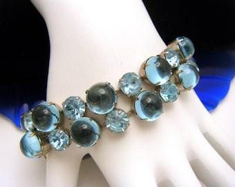 Vintage Hattie Carnegie Bracelet Blue Mirrored Cabochons Rhinestones
