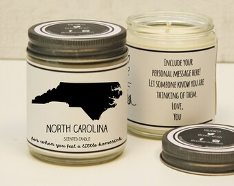 North Carolina Scented Candle - Homesick Gift | Feeling Homesick | State Scented Candle | Moving Gift | College Student Gift | State Candles