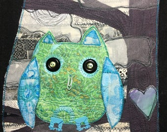Nuit Amour- Night Love-Owl Art - FREE personalization- Painted, Stitched, Quilt, Textile, Mixed Media, Fiber Fabric Art OOAK original night