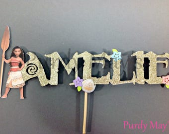 Moana Cake Topper, Moana Name Cake Topper, Moana Personalized Cake Topper, Moana Smash Cake Topper, Moana Party Supplies, Moana Party Decor