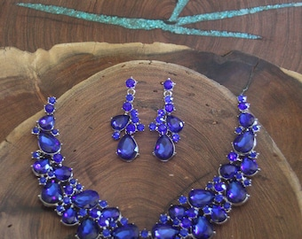 statement blue crystal necklace set, royal blue rhinestone necklace and earrings set, large blue rhinestone necklace