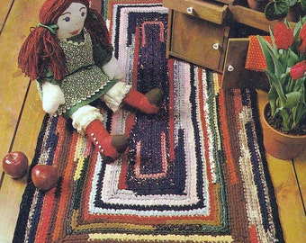 Crochet Rug Old Fashioned Throw Rag Rug Made From Fabric Strips Vintage Pattern PDF