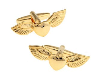 Gold Flying Wings on my Heart Cufflinks Bullet Backing Very Cool Love Wedding Cuff Links Comes with Box wedding cufflinks