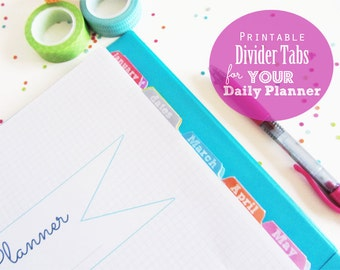 Divider Tabs, Printable Planner, Pages, Inserts - Dates, Contacts, Notes, multicolor, January to December
