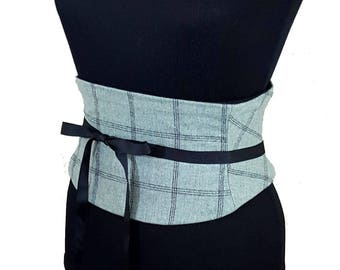 Wool Plaid Corset Belt / Green and Black Waist Cincher / Underbust Belt / Steel Boning and Plus Sizes Available / Wool Obi / Menswear Belt