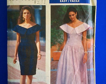 """90s Designer Dress, UNCUT, F/F,  Size-6-8-10, Bust 30 1/2"""" to 32 1/2"""", Butterick 4681, Kathryn Conover New York."""