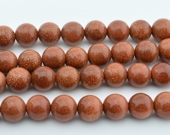 15  IN  Gold Sand  Stone  Beads 8mm