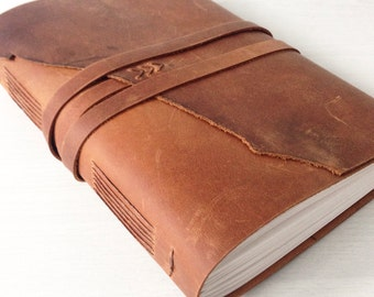 Leather journal, travel journal, custom sketchbook,, leather anniversary gift for him, monogram optional, Fathers day gift