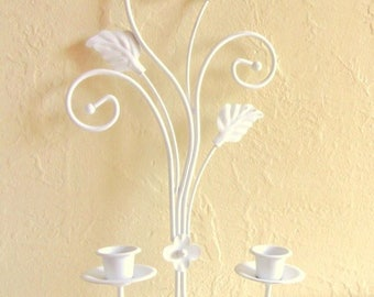 SALE White Shabby Chic Cottage Style Candle Wall Sconce Decorative