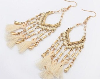 Bohemian Design Beads and Tassel Earrings - White