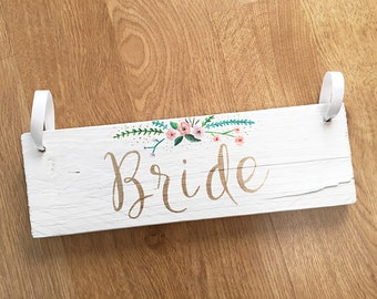 Wedding chair back signs for Bride and Groom
