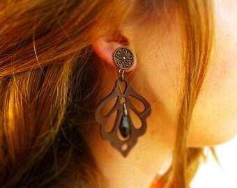Stylish Earrings Autumn Earrings Long Earrings Dangle Earrings Rustic Earrings Large Earrings Leather Earrings Floral Earrings Brown Earring