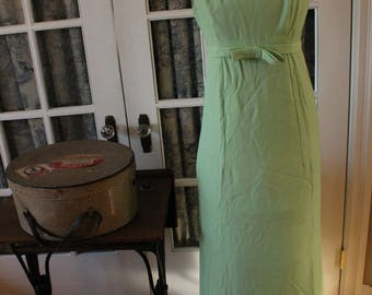 Early 1960's Green Evening Gown with Bow at Waistband