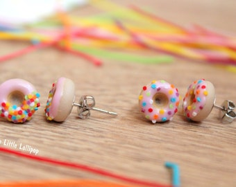 Pink Donut Earrings - Fimo Food - Miniature Jewelry