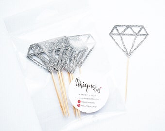 Silver Glitter Diamond Cupcake Toppers, Engagement Cupcake Toppers, Bridal Shower Cupcake Toppers, Bachelorette Party Cupcake Toppers