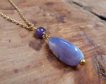 Freeform Purple Chalcedony Pendant Necklace, with Amethyst Bead