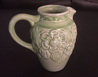 1920s pale green floral pitcher