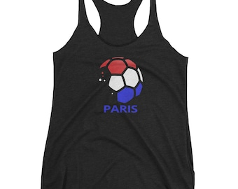 Paris France Women's Racerback Tank. Football Soccer Top For Fans, Adults Girls & Kids.