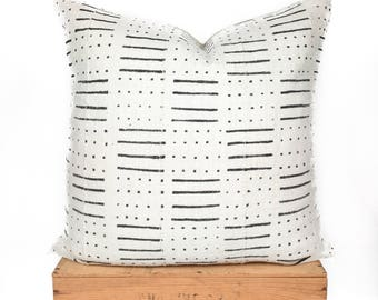 """24"""" Inch White African Mud Cloth Pillow Cover"""