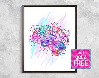 Human Brain print, Anatomical Brain art, rainbow Brain art, Anatomy print, Medical Art, Anatomy Poster, Medicine print, digital download