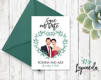 custom save the date-couples portrait save the date-illustrated save the date-wedding announcement-romantic save the sate-