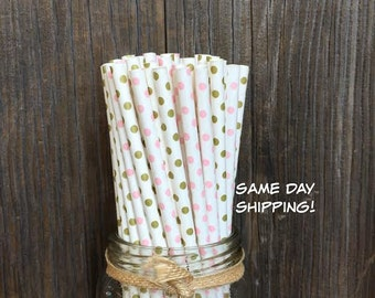 100 Gold and Pink Polka Dot Paper Straws- Wedding, Baby Shower, Party Supply, Free Shipping!