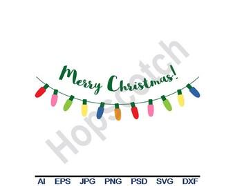 Christmas Lights - Svg, Dxf, Eps, Png, Jpg, Vector Art, Clipart, Cut File