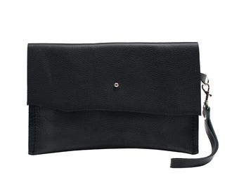 Leather Clutch, Black Leather Bag, Small Leather Purse, Foil Monogram