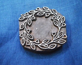 Wreath Stamp, Block Printing Wooden Stamp - Hand Carved Indian Wood Block Textile Stamps - Fabric Stamp - Stamp Blocks, Wooden Stamps
