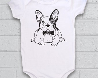French Bulldog Baby, Cute Baby Bodysuit, Unique Baby clothes, Hipster baby, Dog baby clothes, Dog baby shower, Frenchie, Puppy baby shower