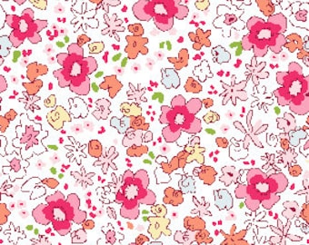 Meadow Floral in Pink Summer Fabric from Best of Sarah Jane Collection for Michael Miller Fabrics (Children at play reprint)