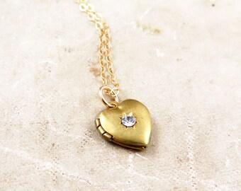 Vintage Starburst Heart Locket on Gold Filled Chain