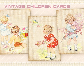 Vintage children Greeting cards Gift cards on Digital collage sheet