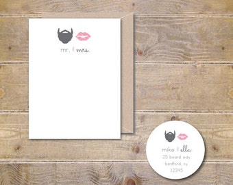 Wedding Thank You Cards,  Beard, Lips, Lips and Beard, Thank You Cards, Bridal Shower, Affordable Weddings, Mustache