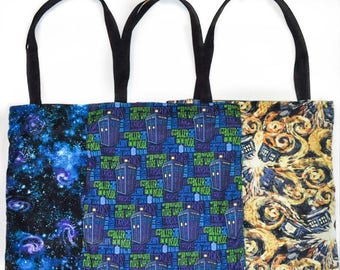 Nerditotes Handmade Handsewn Doctor Who Bigger on the Inside Exploding Tardis Space Reversible Tote Bag Purse