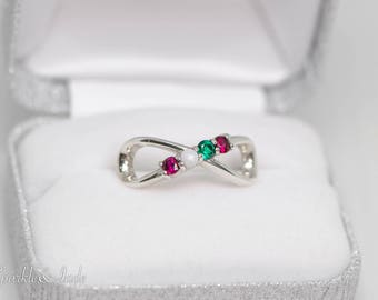 Personalized 925 Sterling Silver Infinity Family Ring with 1 2 3 4 or 5 Birthstones for Mother
