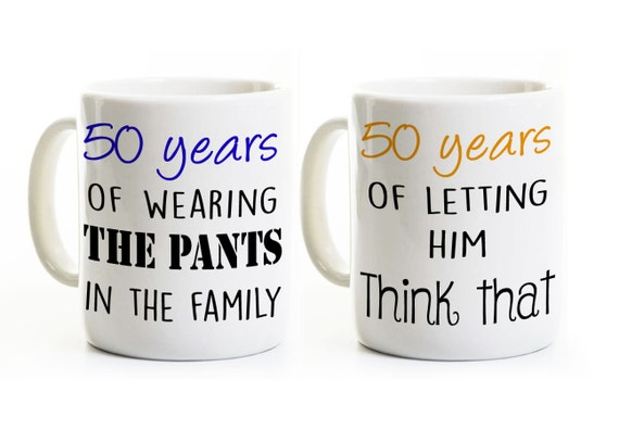 50th Anniversary Gift - His and Her Coffee Mugs - 50 Years Married - Golden Wedding Anniversary Gift Set  sc 1 st  Etsy : 50th wedding anniversary tableware - pezcame.com
