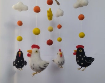 Needle Felted baby mobile Felted Wool mobile  Felted Baby Mobile Felted Chicken Mobile Nursery Mobile Mobile with chicken