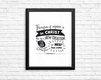 "Bible Verse Print ""A New Creation"" 2 Corinthians Scripture Typography, Christian Gift, Christening Gift - 8x10 Wall Print"