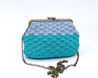 Evening bag crochet, metal frame cross body, shoulder, Vintage style turquoise - blue summer crochet handbag, kiss clasp, gift for her